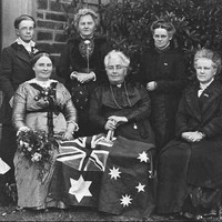 Image: group of women with flag