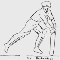 Image: A simple line drawing of a man in cricket batsman attire swinging a cricket bat