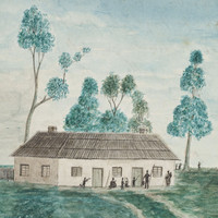 Image: painting of building with figures holding spears in foreground