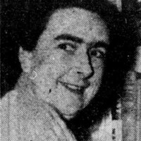 Newspaper photo, head and shoulders of woman.