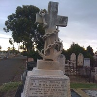 Image: large stone cross on stone base in graveyard