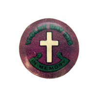 Image: purple badge with cross and green text