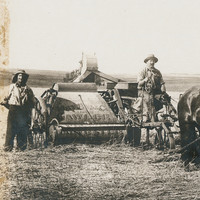 Image: Photograph of farmers and horses pulling a harvester