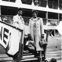 Image: Two women disembarking from a ship
