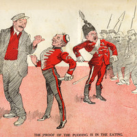 Image: A cartoon drawing depicting a group of soldiers, and a sergeant who is trying to conscript a man