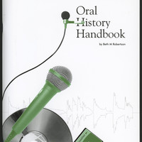 Image: the cover of the Oral History Handbook depicting a microphone and CD